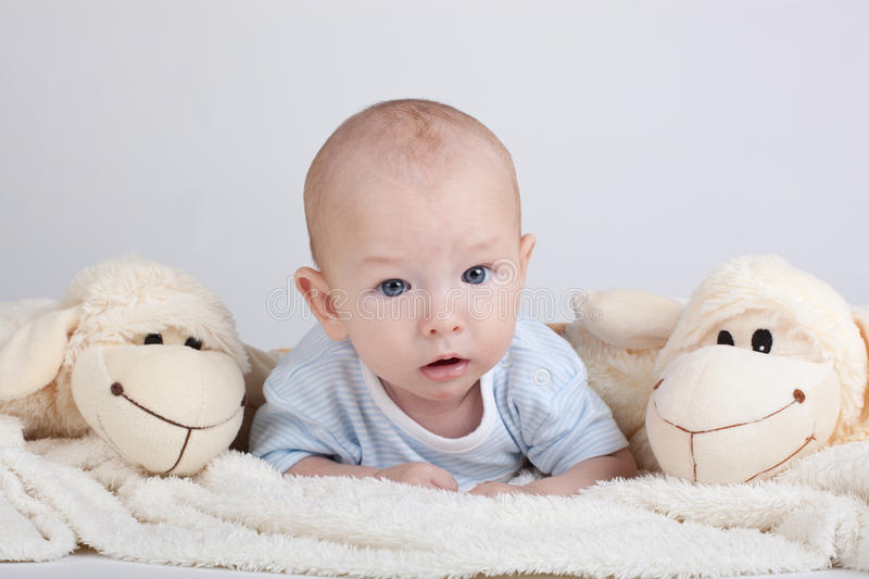 Portrait of sweet little baby boy stock images