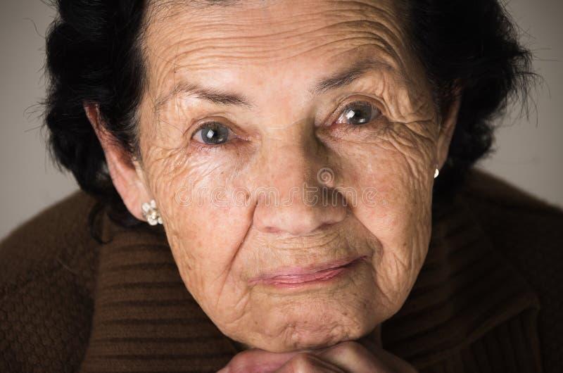 Portrait of sweet loving happy grandmother stock image