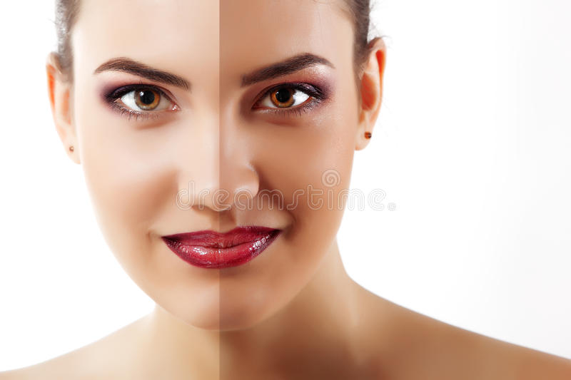 Portrait of tanned beauty young woman with beautiful makeup look stock images