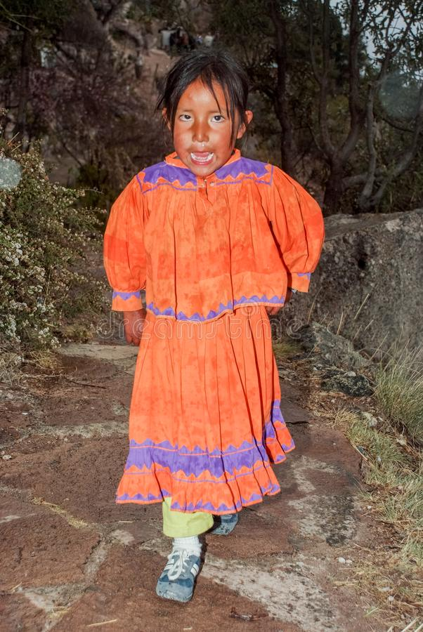 Portrait of a Tarahumara Indian kid in Copper Canyon. March 03, 2010 - Copper Canyon - Sierra Madre, Chihuahua State, Mexico, South America royalty free stock photos