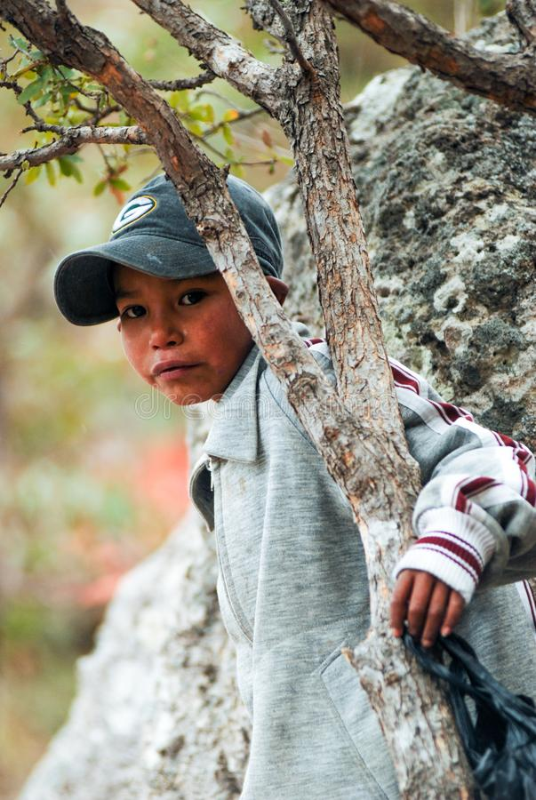 Portrait of a Tarahumara Indian kid in Copper Canyon. March 03, 2010 - Copper Canyon - Sierra Madre, Chihuahua State, Mexico, South America stock photo
