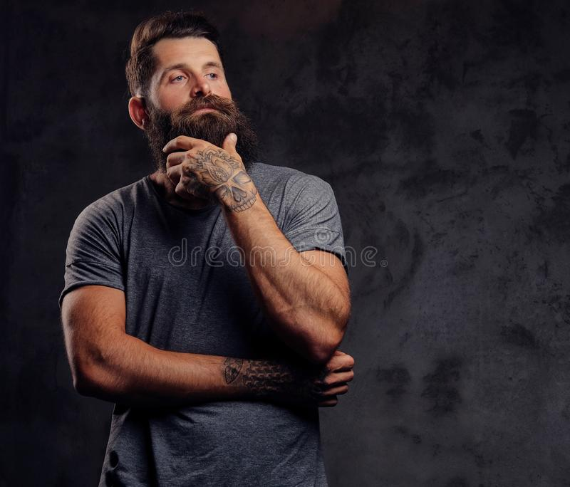 Portrait of a hipster with full beard and stylish haircut, dressed in a gray t-shirt, stands with a thinking look in a stock image