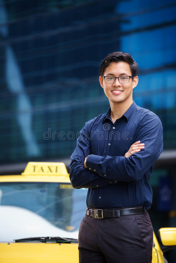 Portrait taxi driver smile car driving happy stock photo