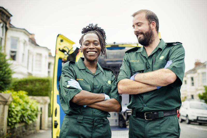 Portrait of a team of paramedics royalty free stock images