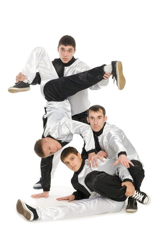 Portrait team of young break dancers stock images