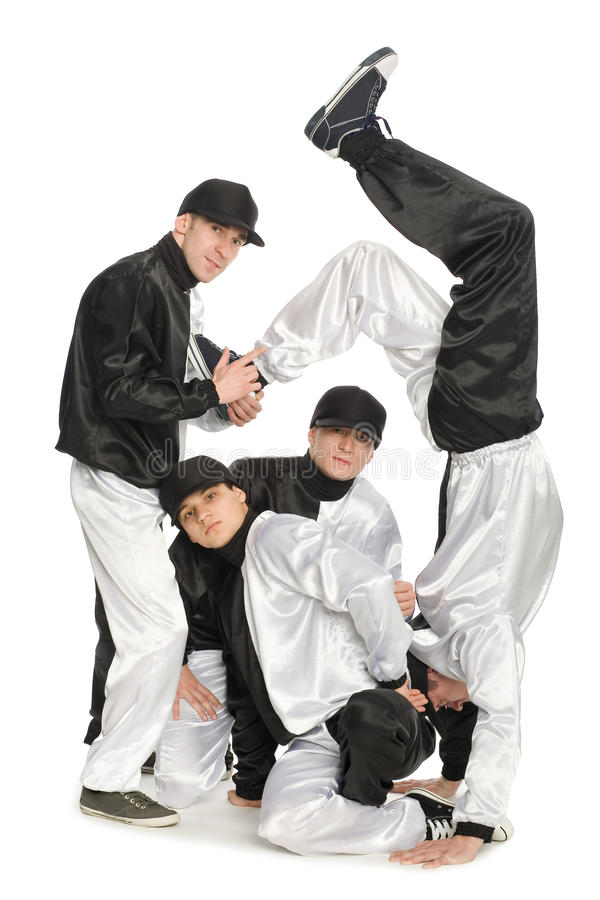 Portrait team of young break dancers royalty free stock photos