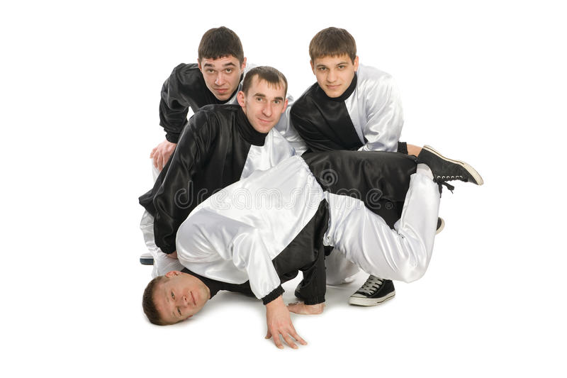Portrait of a team of young break dancers royalty free stock photos