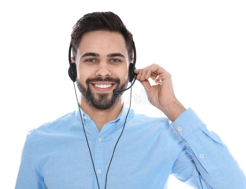 Portrait of technical support operator with headset isolated stock images
