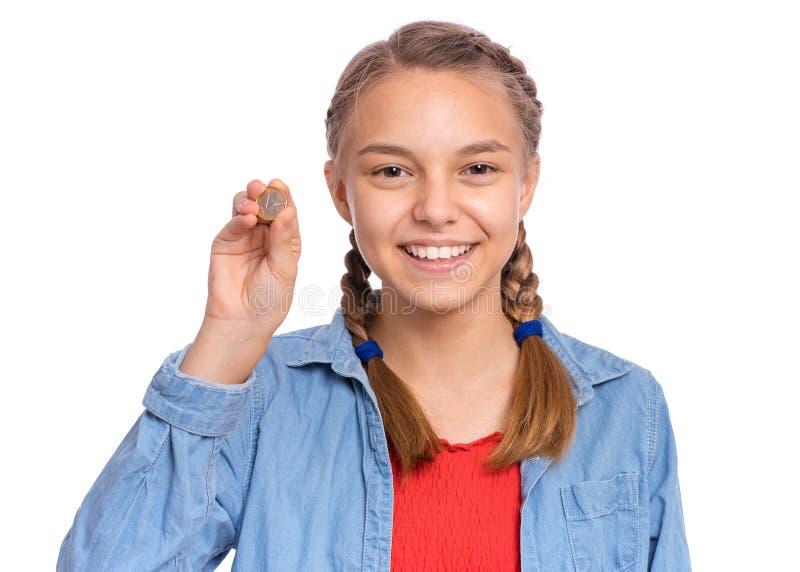 Teen girl with money stock photos
