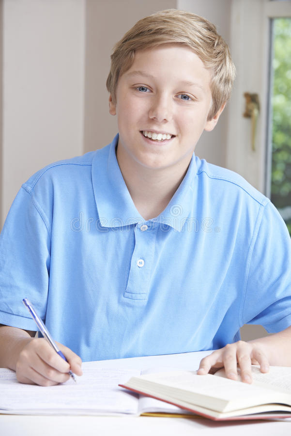 Portrait Of Teenage Boy Doing Homework At Table stock photos