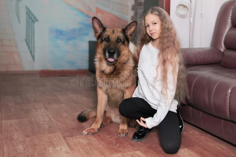 Portrait of a teenage girl and her friendly big dog royalty free stock image