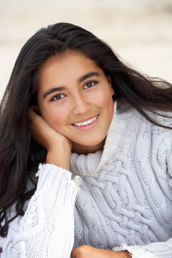 Portrait teenage girl outdoors stock photo