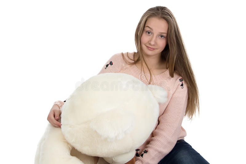 Portrait of teenage girl with teddy bear royalty free stock image