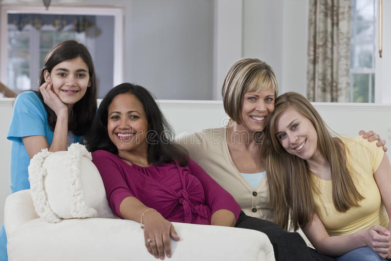 Portrait of a teenage girls and their mothers royalty free stock photography