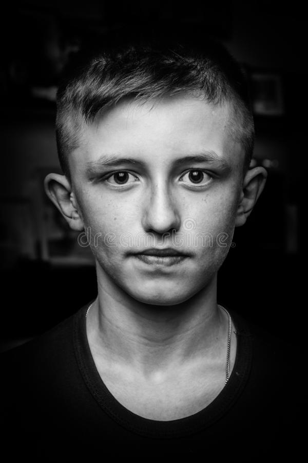 Portrait of a teenager black and white stock images
