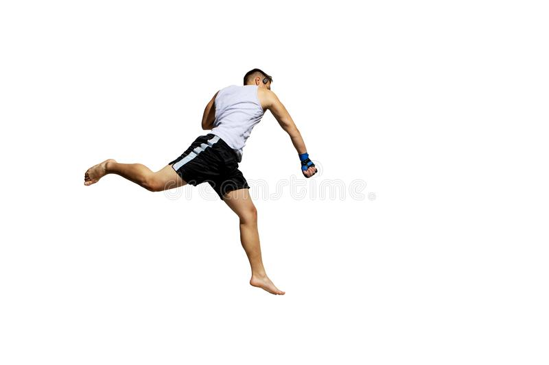 Teenager boxing in studio. The portrait of teenager boy training and boxing stock photos