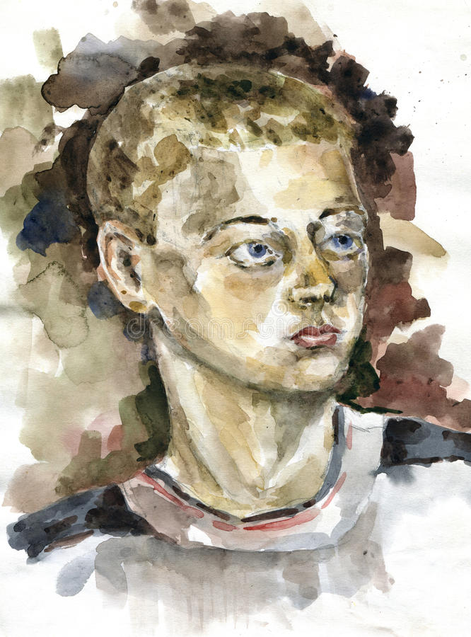 Portrait of the teenager. Drawn by watercolors royalty free illustration