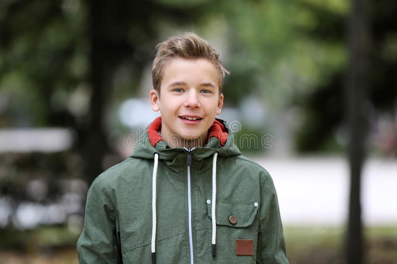 Portrait of teenager outdoors royalty free stock images