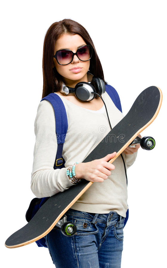 Download Portrait Of Teenager In Sunglasses With Skateboard Stock Photo - Image: 34248602