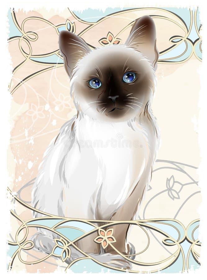 Portrait of Thai kitten. Traditional Siamese cat royalty free illustration