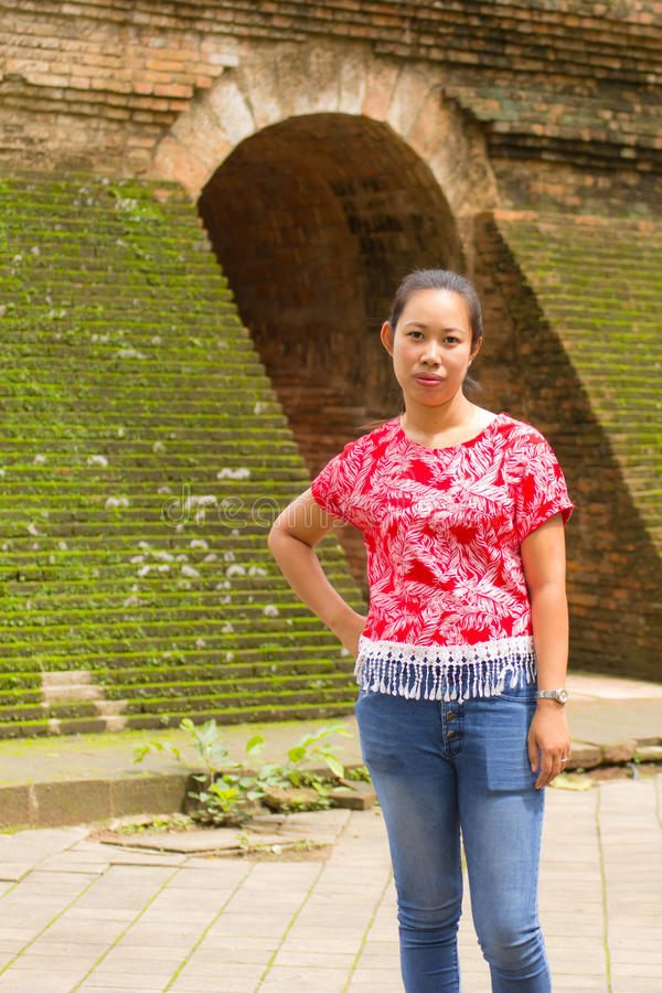 Portrait Thai woman at Wat Umong Tunnel in Chiang Mai, Thailand stock photography
