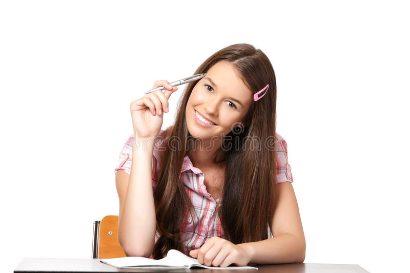 Portrait of a thinking teenager royalty free stock photo