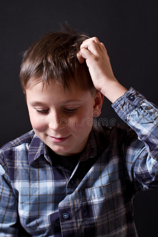 Download Portrait Of Thinking Teenager Stock Image - Image of shirt, child: 28230933