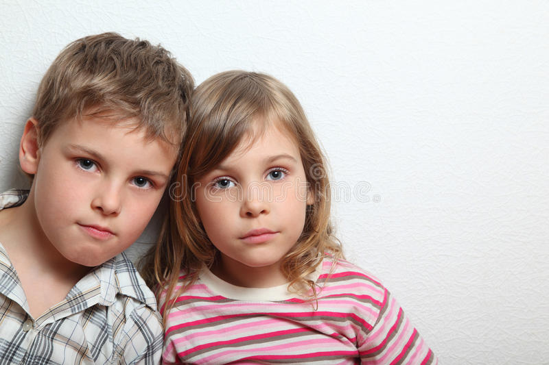 Download Portrait Of Thoughtful Little Girl And Boy Stock Image - Image: 19153211