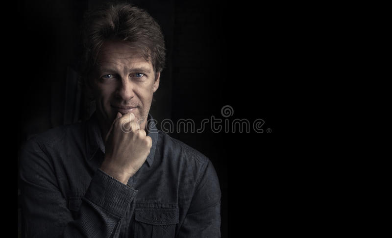 Portrait of thoughtful man royalty free stock images