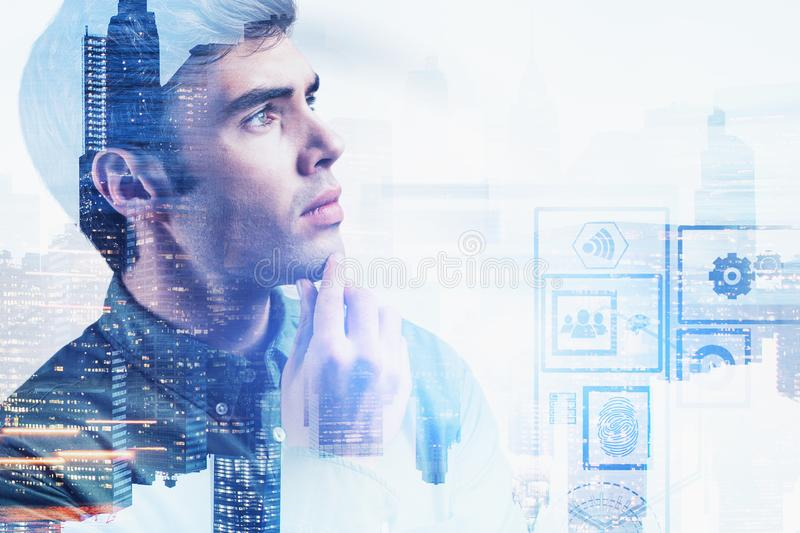 Thoughtful businessman in city, digital interface. Portrait of thoughtful young businessman in modern city with double exposure of digital interface. Concept of royalty free stock image