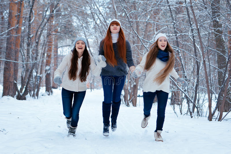 Portrait Of Three Beautiful Girls In Winter Park Royalty Free Stock Photo