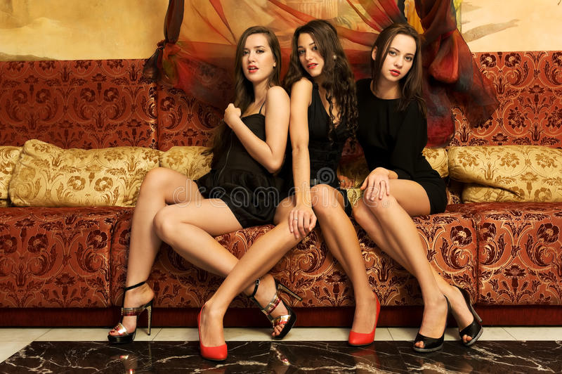 Portrait of a three beautiful women royalty free stock photography