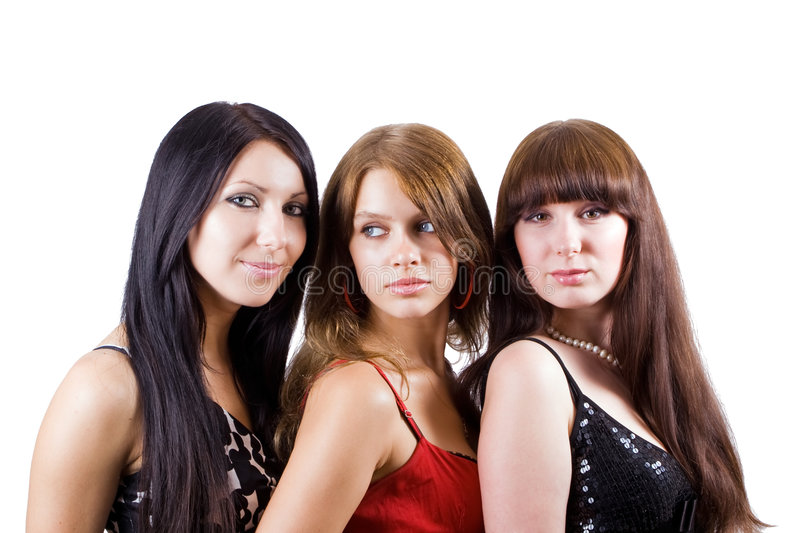 Portrait of three beautiful young women royalty free stock photography