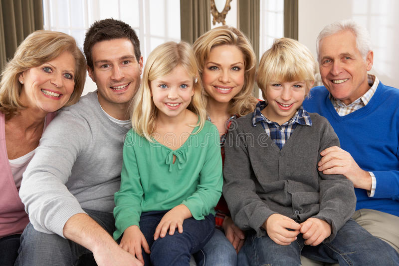 Download Portrait Of Three Generation Family At Home Stock Image - Image: 18915567