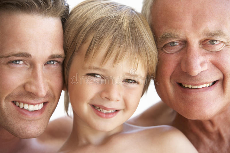 Portrait Of Three Generation Of Men From Family stock images