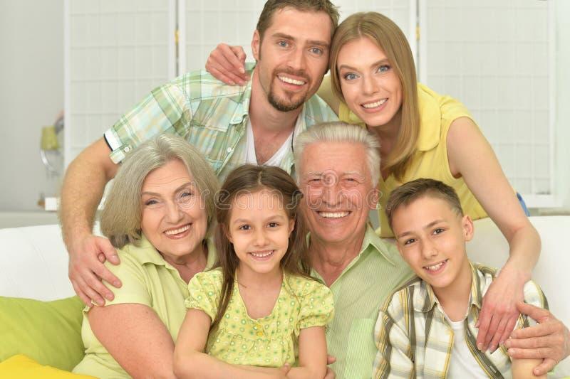 Portrait of three generations stock photos