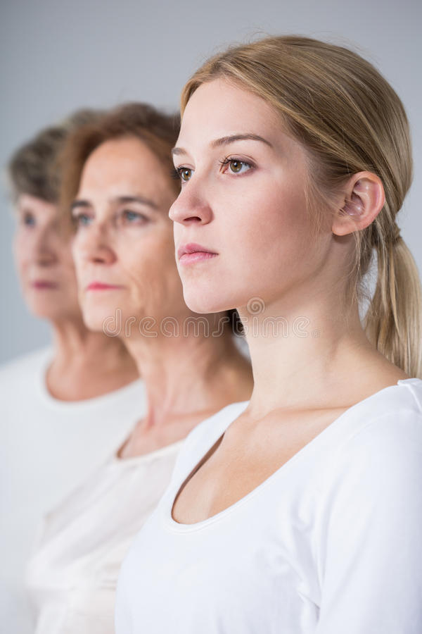 Portrait of three generations family stock photography