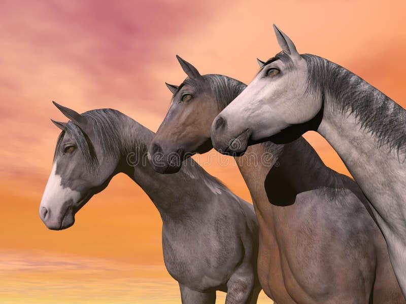 Download Portrait Of Three Horses - 3D Render Stock Illustration - Image: 28578792