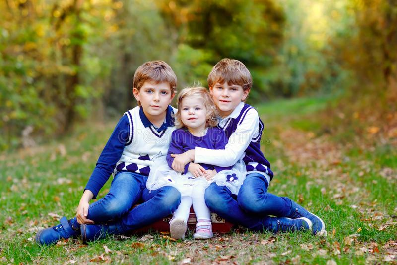 Portrait of three siblings children. Two kids brothers boys and little cute toddler sister girl having fun together in. Autumn forest. Happy healthy family royalty free stock photography