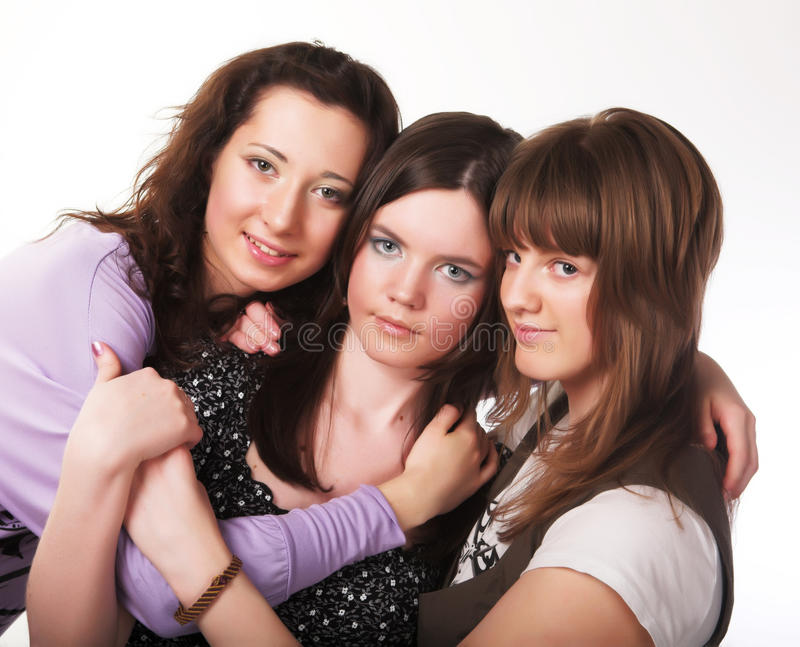 Download Portrait Of Three Smiling Attractive Girls Stock Photo - Image: 11100656