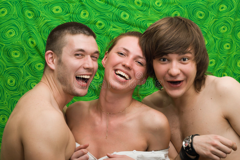 Download Portrait Of Three Smiling Young People Stock Photo - Image of female, people: 5287556