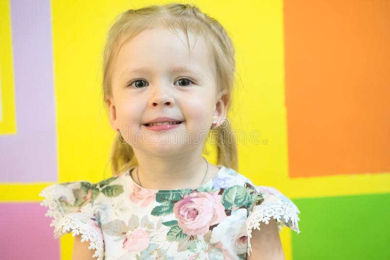 Portrait of a three year old girl royalty free stock photo