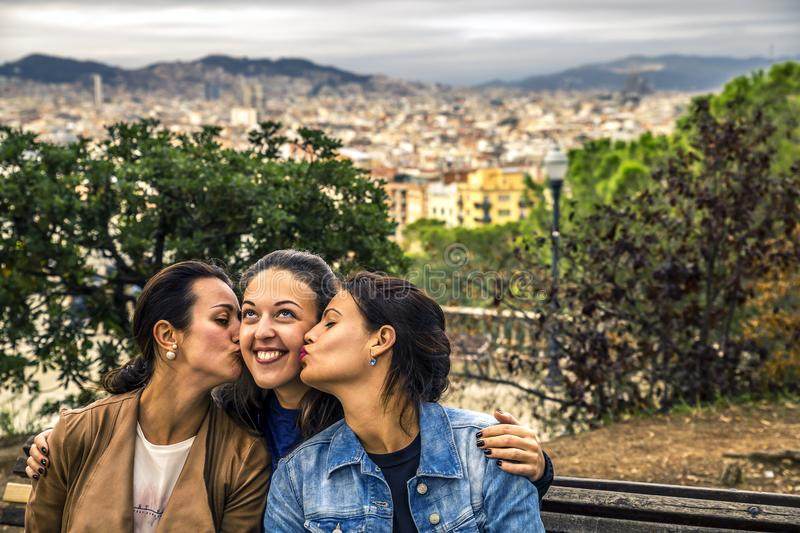 Portrait of three young and attractive women close up. royalty free stock photo
