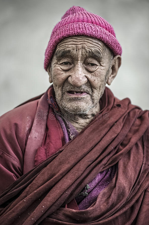 Download Portrait Of An Tibetan Old Monk From Thikse Monastery, Leh. Editorial Stock Photo - Image of headdress, fife: 80581533