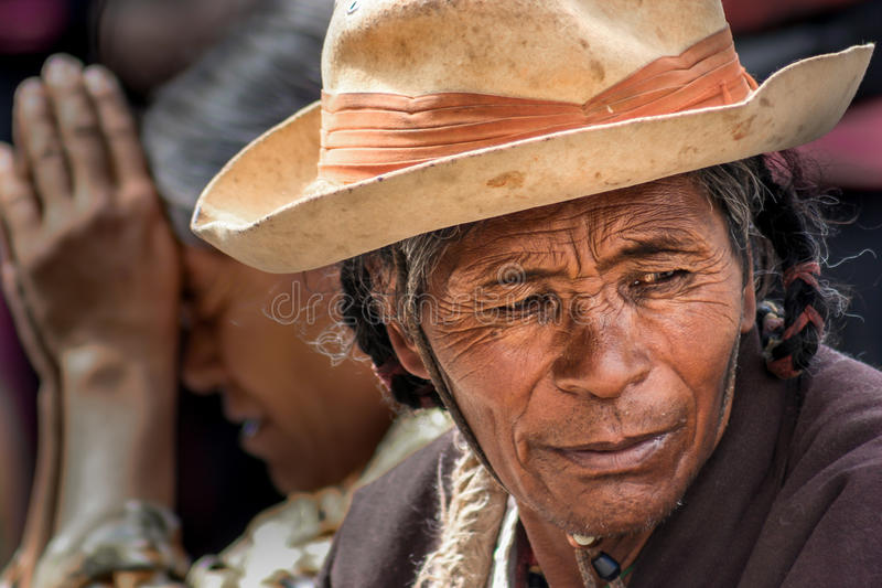 Portrait of a Tibetan pilgrim royalty free stock photo