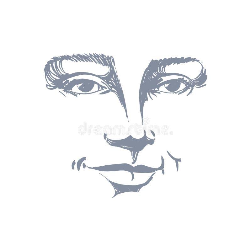 Portrait tiré par la main de femme de flirt de blanc-peau, émotions de visage illustration stock
