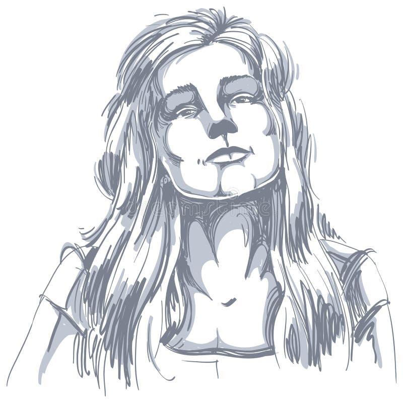Portrait tiré par la main de femme de flirt de blanc-peau, émotions de visage illustration de vecteur