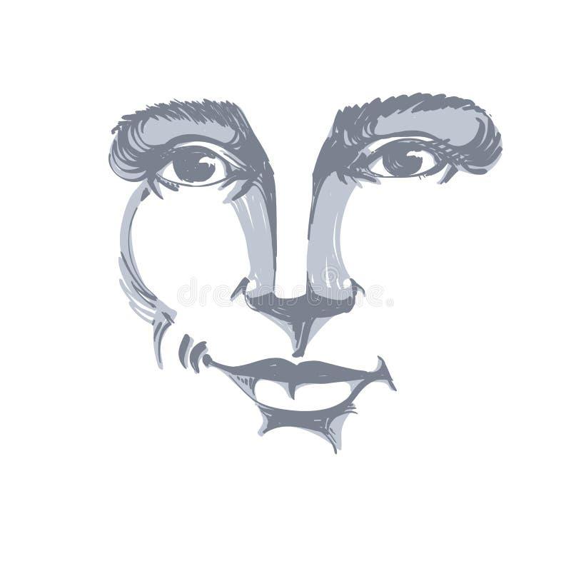 Portrait tiré par la main de femme de flirt de blanc-peau, émotions de visage illustration libre de droits