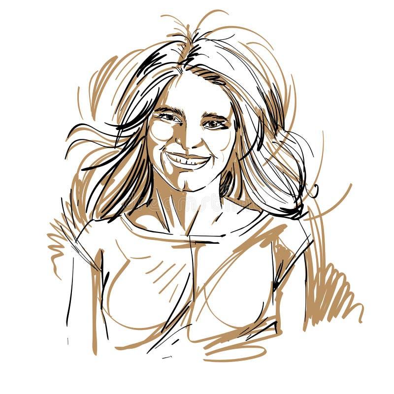 Portrait tiré par la main femme de sourire de blanc-peau d'heureuse avec long W illustration de vecteur