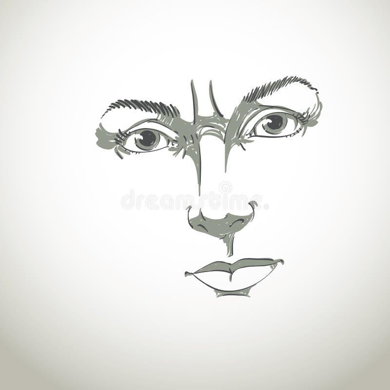 Portrait tiré par la main monochrome de femme douteuse de blanc-peau, fac illustration de vecteur